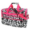 "Damask Print 19"" Duffle Bag w/ Pink Trim"