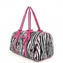 Belvah Black & Fuchsia Quilted Zebra Large Duffle Bag