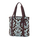 Belvah Brown & Turquoise Quilted Damask Tote Bag