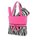 Belvah Black & Fuchsia Quilted Zebra 3 Pc Diaper Bag