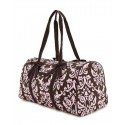Belvah Brown & Pink Quilted Damask Large Duffle Bag