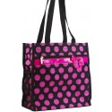Black & Hot Pink Polka Dot Shopper Tote Bag w/ Coin Purse