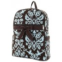 Belvah Brown & Turquoise Quilted Damask Medium Backpack