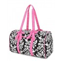 Belvah Black & Fuchsia Pink Quilted Damask Large Duffle Bag