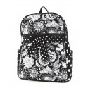 Belvah Black & White Quilted Floral Medium Backpack