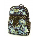 Belvah Brown and Lime Quilted Floral Medium Backpack