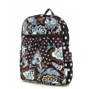 Belvah Brown and Turquoise Quilted Floral Medium Backpack
