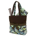 Belvah Brown and Lime Quilted Floral 3 Pc Diaper Bag