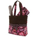 Belvah Brown and Pink Quilted Floral 3 Pc Diaper Bag