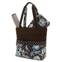 Belvah Brown and Turquoise Quilted Floral 3 Pc Diaper Bag
