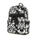 Belvah Black & White Quilted Damask Medium Backpack