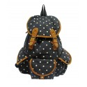 J. Carrot Black Polka-Dot Print Canvas Flap Backpack Bag