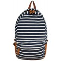J. Carrot Navy & White Striped Fleece Backpack Bag