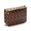 Patent Brown Houndstooth Crossbody Handbag