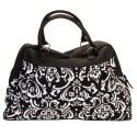 Black & White Large Damask Print Carry On Satchel Luggage Tote Bag