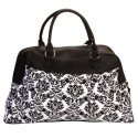 White & Black Small Damask Print Carry On Satchel Luggage Tote Bag