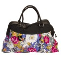 Blue Colorful Flower Large Carry On Satchel Luggage Tote Bag