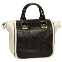 Steve Madden Black &amp; White BGAMBET Snakeskin Two Tone Satchel Handbag w/ Gold Zipper Trim