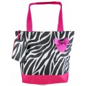 Zebra Print Tote Beach Bag w/ Hot Pink Trim
