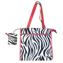 Zebra Print Shopper Tote Bag W/ Hot Pink Trim