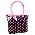 Black & Pink Quilted Cotton Polka Dot Tote Bag