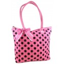 Pink & Brown Quilted Cotton Polka Dot Tote Bag