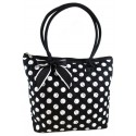 Black Quilted Cotton Polka Dot Tote Bag