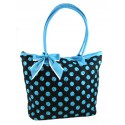 Black & Blue Quilted Cotton Polka Dot Tote Bag