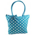 Blue & White Quilted Cotton Polka Dot Tote Bag