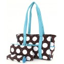 Belvah Brown & White Quilted Polka Dots 3 Pc Diaper Bag w/ Blue Trim