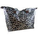 Large Black Giraffe Print Satin Feel Tote Bag