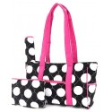 Belvah Black & White Quilted Polka Dots 3 PC Diaper Bag w/ Pink Trim