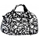 Damask Print Small Carry On Duffle Bag w/ Black Trim