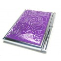 Purple Paisley Memo Notepad Case w/Pen