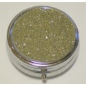 Glitter Gold Round Pill Box
