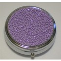 Purple Confetti Round Pill Box