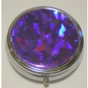 Purple Metallic Round Pill Box