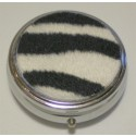 Furry Zebra Round Pill Box
