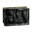 Large Chocolate Black Croco Purse Organizer With Floral Lining