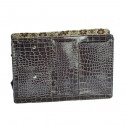 Large Grey Croco Purse Organizer With Floral lining
