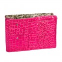 Large Pink Croco Purse Organizer With Floral lining