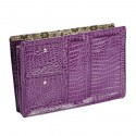 Large Purple Croco Purse Organizer With Floral lining