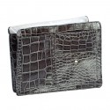 Small Grey Croco Purse Organizer With White lining