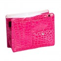 Small Pink Croco Purse Organizer With White lining