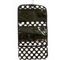 Polka Dot Hanging Travel Cosmetic Case w/ Black Trim