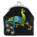 Lavishy Black Vegan Peon Peacock Embroidered Kiss Lock Coin Purse