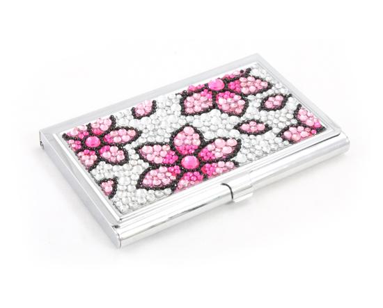 Pink crystal bling flower floral metal business id wallet for Bling business card holder
