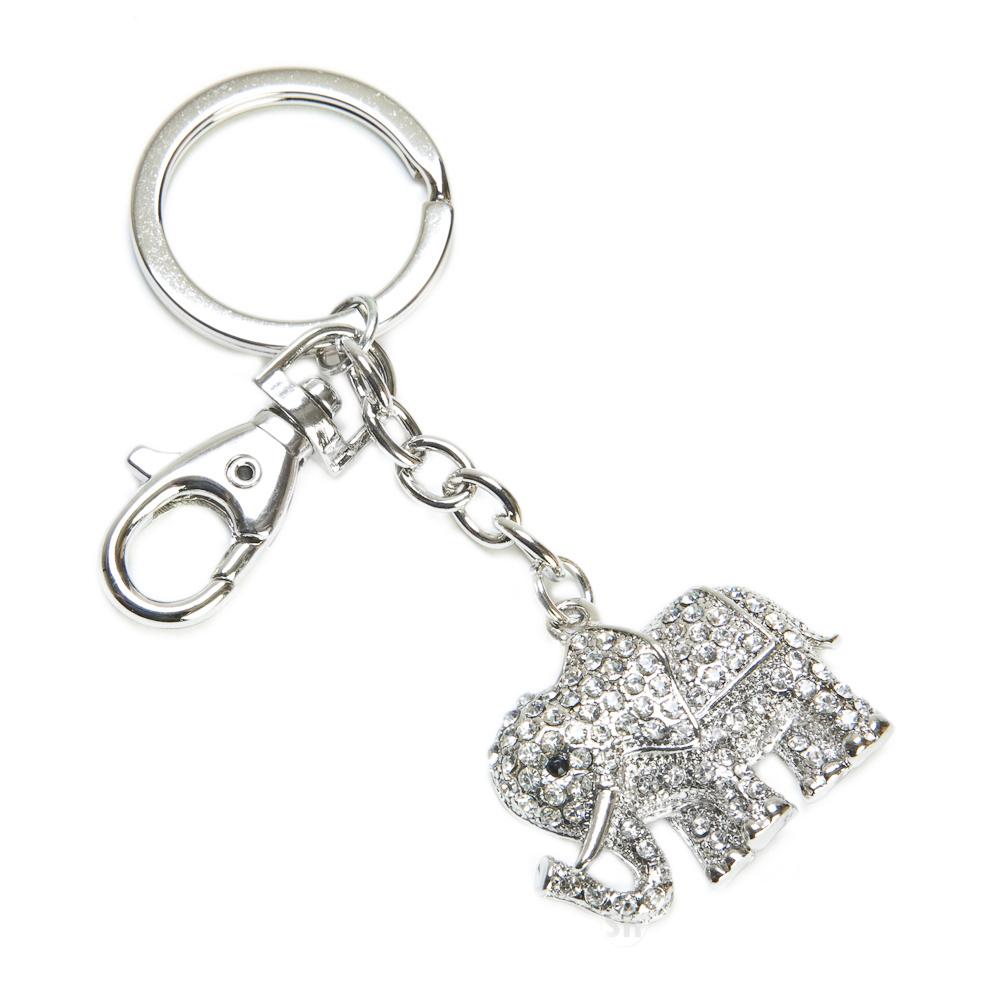Clear Crystal Rhinestone Animal Elephant Keychain Key Chain Ring Hook W Clasp   eBay